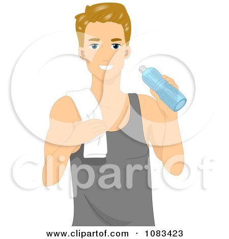 Clipart Athletic Man Holding A Water Bottle - Royalty Free Vector Illustration by BNP Design Studio