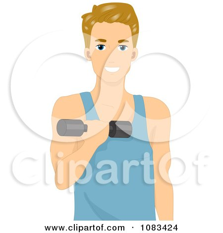 Clipart Athletic Man Using A Dumbbell - Royalty Free Vector Illustration by BNP Design Studio