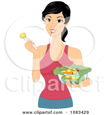 Clipart Healthy Woman Eating Salad - Royalty Free Vector Illustration by BNP Design Studio