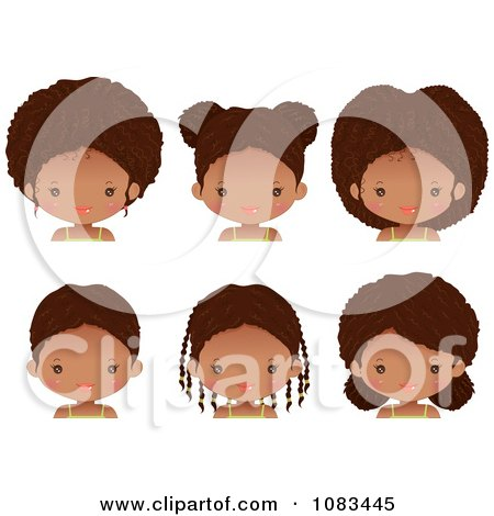 Clipart Cute Black Girl With Six Different Hair Styles - Royalty Free Vector Illustration by Melisende Vector