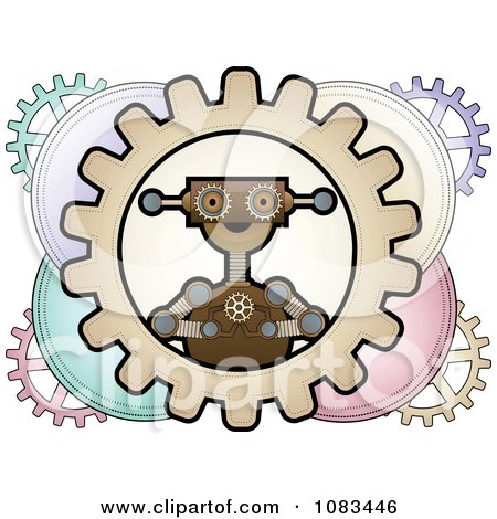 Clipart Steampunk Robot Inside Colorful Gears Royalty Free Vector Illustration