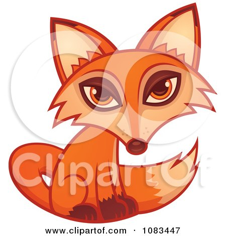 Clipart Cute Orange Fox Seated - Royalty Free Vector Illustration by John Schwegel