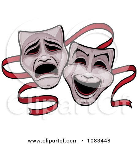 Clipart Comedy And Tragedy Theater Masks And Red Ribbon - Royalty Free Vector Illustration by John Schwegel