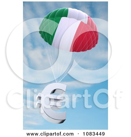 Clipart Italian Flag Parachute With A 3d Euro Symbol Against The Sky - Royalty Free CGI Illustration by stockillustrations