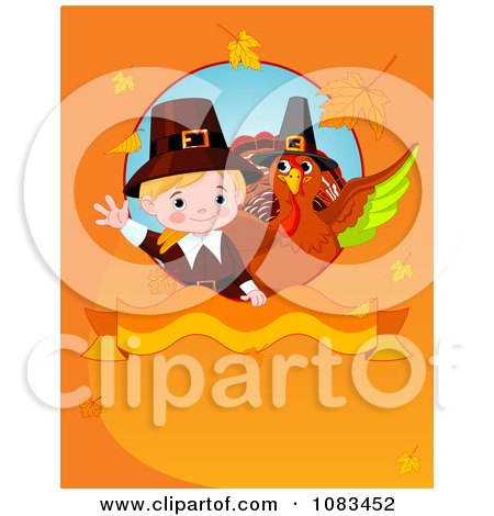 Clipart Thanksgiving Pilgrim And Turkey On An Orange Autumn Background - Royalty Free Vector Illustration by Pushkin