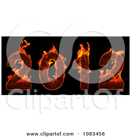 Clipart 3d Red Fiery 2012 New Year - Royalty Free CGI Illustration by chrisroll