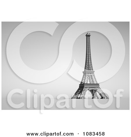Clipart 3d White Eiffel Tower On Gray - Royalty Free CGI Illustration by chrisroll