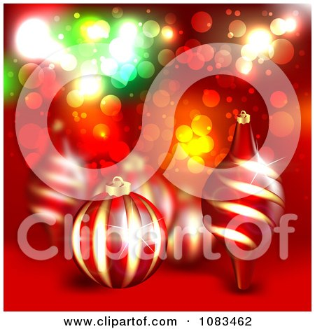 Clipart Christmas Background With 3d Ornaments Over Red - Royalty Free Illustration by vectorace