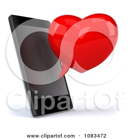 Clipart 3d Red Heart Chat Bubble And Cell Phone - Royalty Free CGI Illustration by Julos