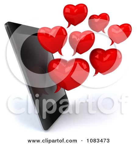 Clipart 3d Red Heart Chat Bubbles And Cell Phone - Royalty Free CGI Illustration by Julos