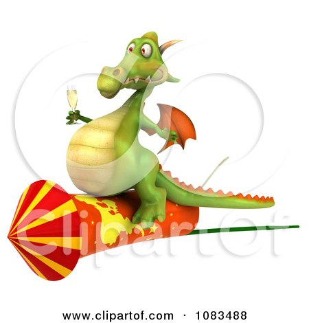 Clipart 3d Dragon With Champange And A Rocket 1 - Royalty Free CGI Illustration by Julos