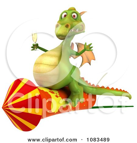 Clipart 3d Dragon With Champange And A Rocket 2 - Royalty Free CGI Illustration by Julos