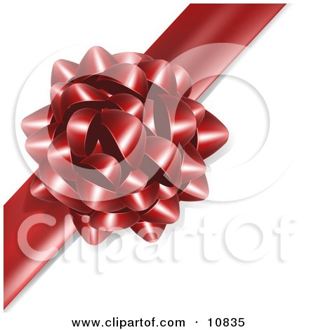 Gift Present Wrapped With a Red Bow and Ribbon Clipart Illustration by Leo Blanchette
