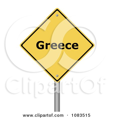 Clipart 3d Greece Yellow Warning Sign - Royalty Free CGI Illustration by oboy