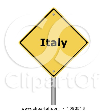 Clipart 3d Italy Yellow Warning Sign - Royalty Free CGI Illustration by oboy