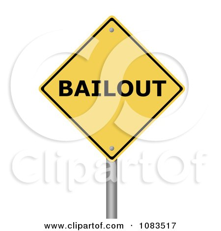 Clipart 3d BAILOUT Yellow Warning Sign - Royalty Free CGI Illustration by oboy
