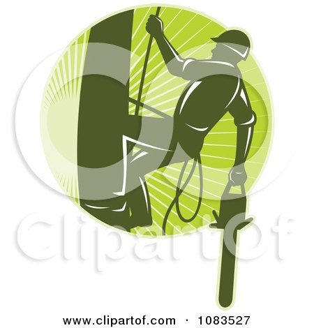 Clipart Retro Tree Arborist Climbing With A Chainsaw 1 - Royalty Free Vector Illustration by patrimonio