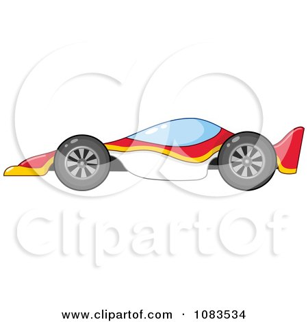 Clipart Red Yellow And White Race Car - Royalty Free Vector Illustration by yayayoyo