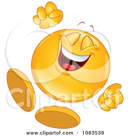 Clipart Happy Emoticon Jumping - Royalty Free Vector Illustration by yayayoyo