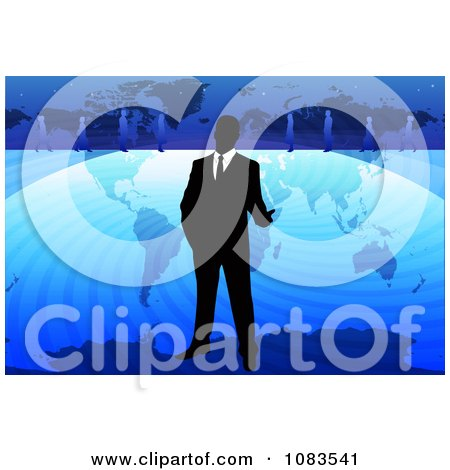Clipart Businessman Standing Over A Blue World Map - Royalty Free Vector Illustration by mayawizard101