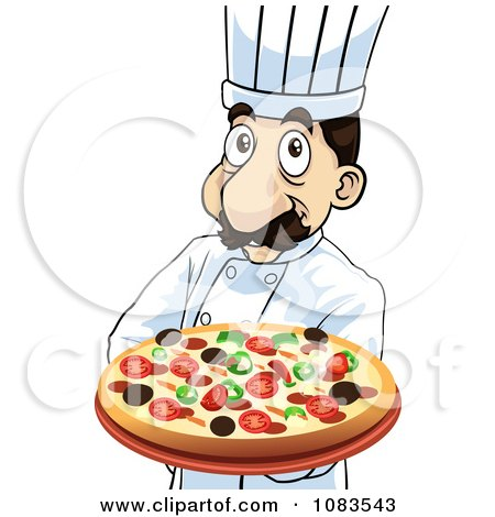 Clipart Chef Holding A Steaming Hot Pizza Pie - Royalty Free Vector Illustration by mayawizard101