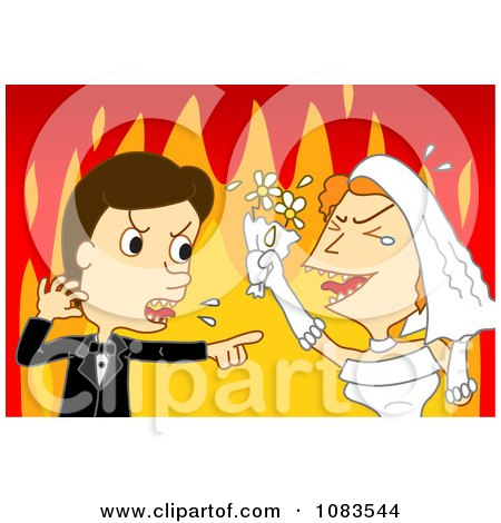 Clipart Bride And Groom Screaming Against Flames - Royalty Free Vector Illustration by mayawizard101