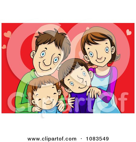 Clipart Happy Family Over Red With Hearts - Royalty Free Vector Illustration by mayawizard101