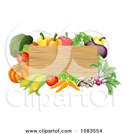 Clipart 3d Wooden Sign With Fresh Veggies - Royalty Free Vector Illustration by AtStockIllustration
