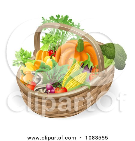 Clipart 3d Veggie Packed Basket - Royalty Free Vector Illustration by AtStockIllustration