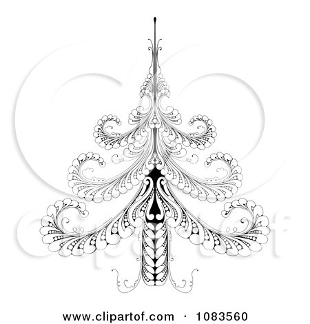Clipart Ornate Black And White Swirl Christmas Tree - Royalty Free Vector Illustration by AtStockIllustration