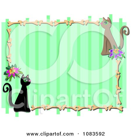 green stripe frame with cats and bones by bpearth