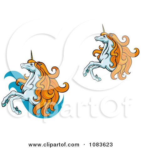 Clipart Two Unicorns With Orange Manes - Royalty Free Vector Illustration by Vector Tradition SM