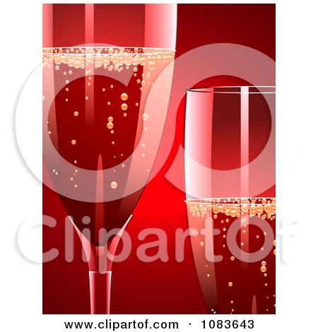 Clipart 3d Champagne Glasses Against Red - Royalty Free Vector Illustration by elaineitalia