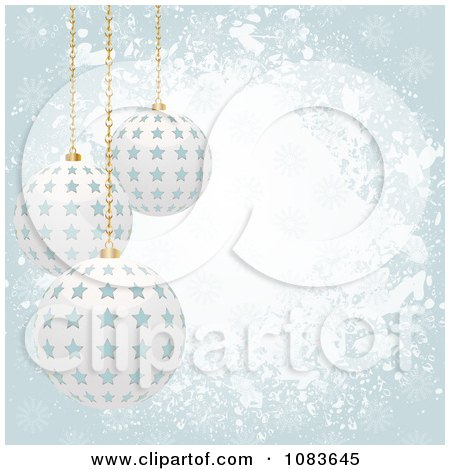 Clipart Grungy Blue Christmas Background With 3d Starry Baubles - Royalty Free Vector Illustration by elaineitalia