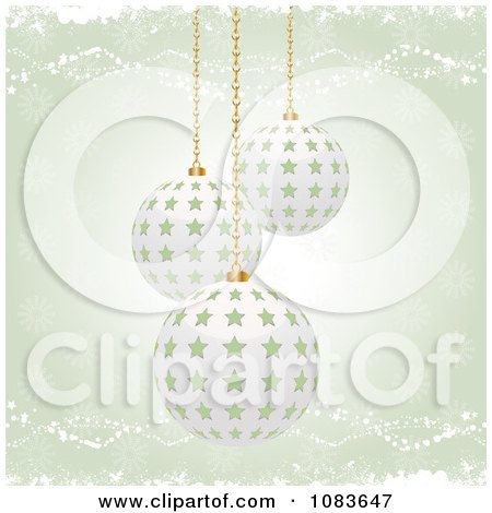 Clipart Green Christmas Background With 3d Starry Baubles - Royalty Free Vector Illustration by elaineitalia
