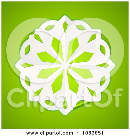 Clipart 3d White Paper Snowflake On Green - Royalty Free Vector Illustration by elaineitalia