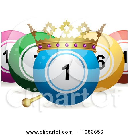 Clipart 3d King Bingo Or Lottery Ball With Other Balls - Royalty Free Vector Illustration by elaineitalia