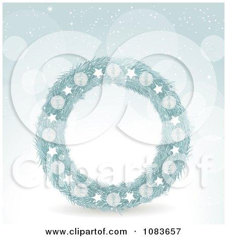 Clipart 3d Blue Christmas Wreath Against Snow - Royalty Free Vector Illustration by elaineitalia