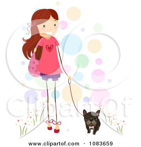 Cute Stick Girl Walking Her Brindle French Bulldog Posters, Art Prints