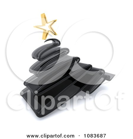 Clipart 3d Black Scribble Glass Christmas Tree - Royalty Free CGI Illustration by KJ Pargeter