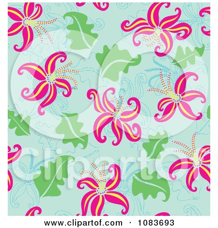 Clipart Seamless Pink Lily And Blue Background - Royalty Free Vector Illustration by Cherie Reve
