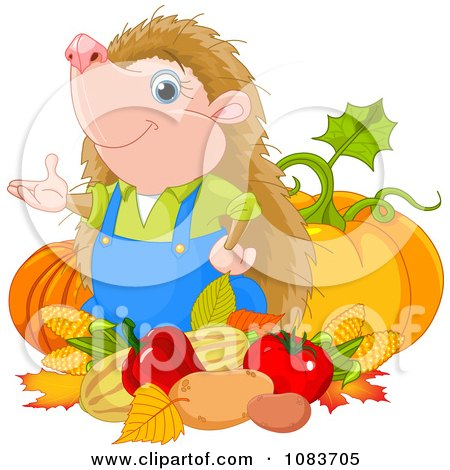 Clipart Gardener Hedgehog With His Harvest - Royalty Free Vector Illustration by Pushkin