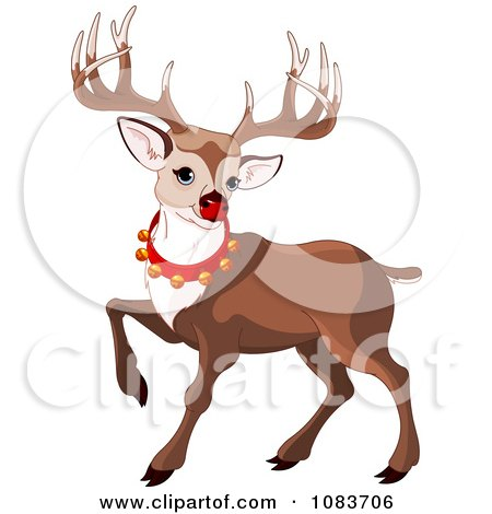 Clipart Rudolph Prancing And Wearing Bells - Royalty Free Vector Illustration by Pushkin