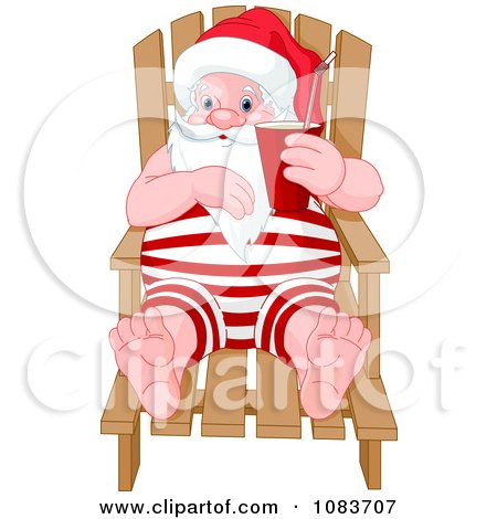 Clipart Santa On A Chaise Lounge During A Beach Vacation - Royalty Free Vector Illustration by Pushkin
