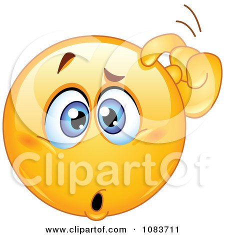 Clipart Confused Emoticon Smiley Scratching His Head ...