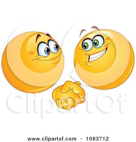 Emoticon Smileys Shaking Hands Posters, Art Prints