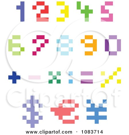 Clipart Colorful Pixel Numbers And Math Symbols - Royalty Free Vector Illustration by yayayoyo