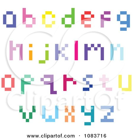Clipart Colorful Lowercase Pixel Letters - Royalty Free Vector Illustration by yayayoyo