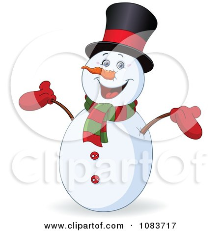 Clipart Happy Snowman Smiling - Royalty Free Vector Illustration by yayayoyo