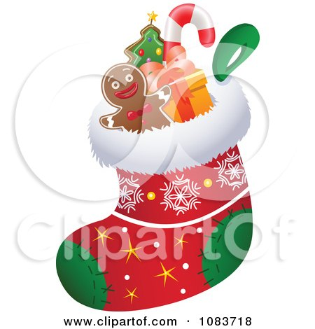 Clipart Stuffers In A Christmas Stocking - Royalty Free Vector Illustration by yayayoyo